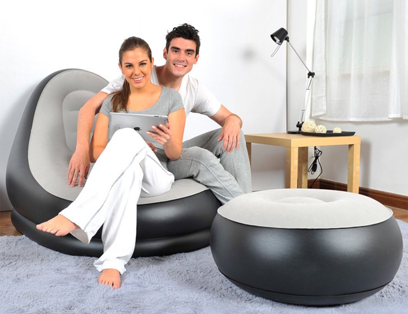 Inflatable Air Chair Ottoman 01